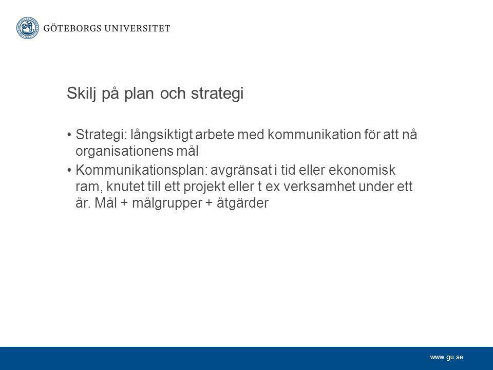Skilj på plan och strategi