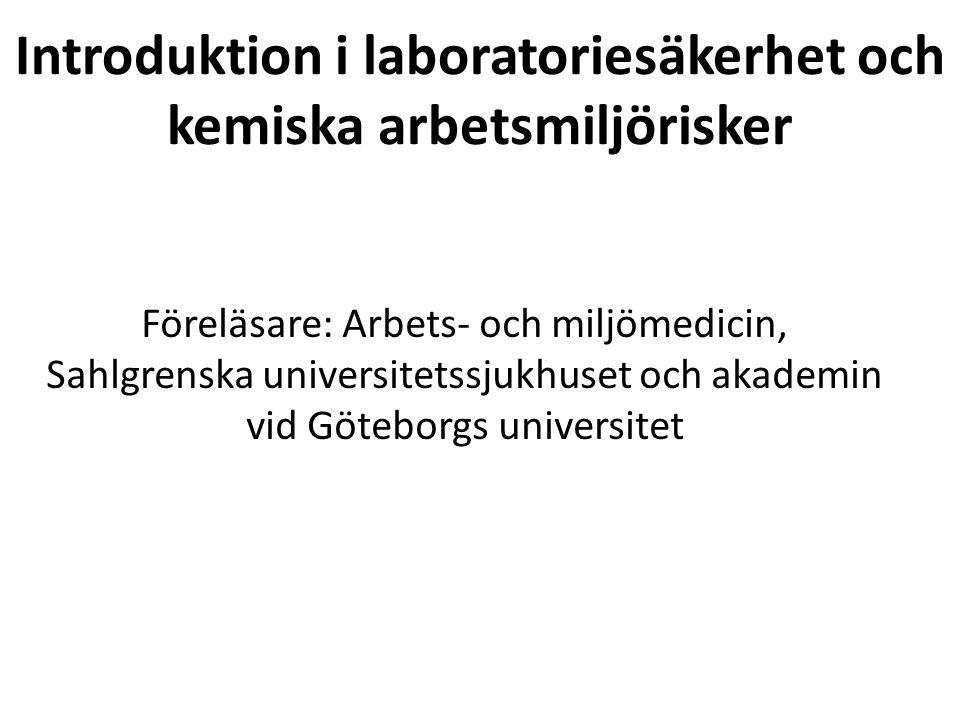 Introduktion i laboratoriesäkerhet och kemiska arbetsmiljörisker