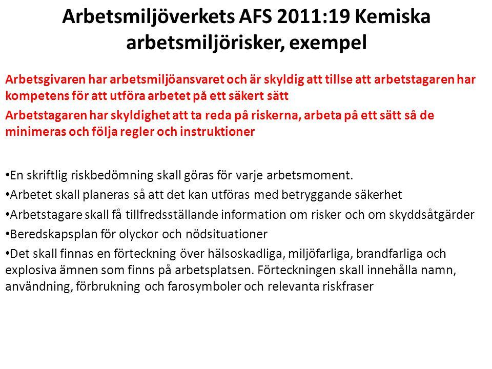 Arbetsmiljöverkets AFS 2011:19 Kemiska arbetsmiljörisker, exempel