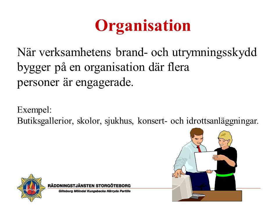 Organisation När verksamhetens brand- och utrymningsskydd