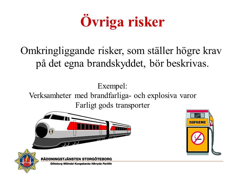 Övriga risker Omkringliggande risker, som ställer högre krav