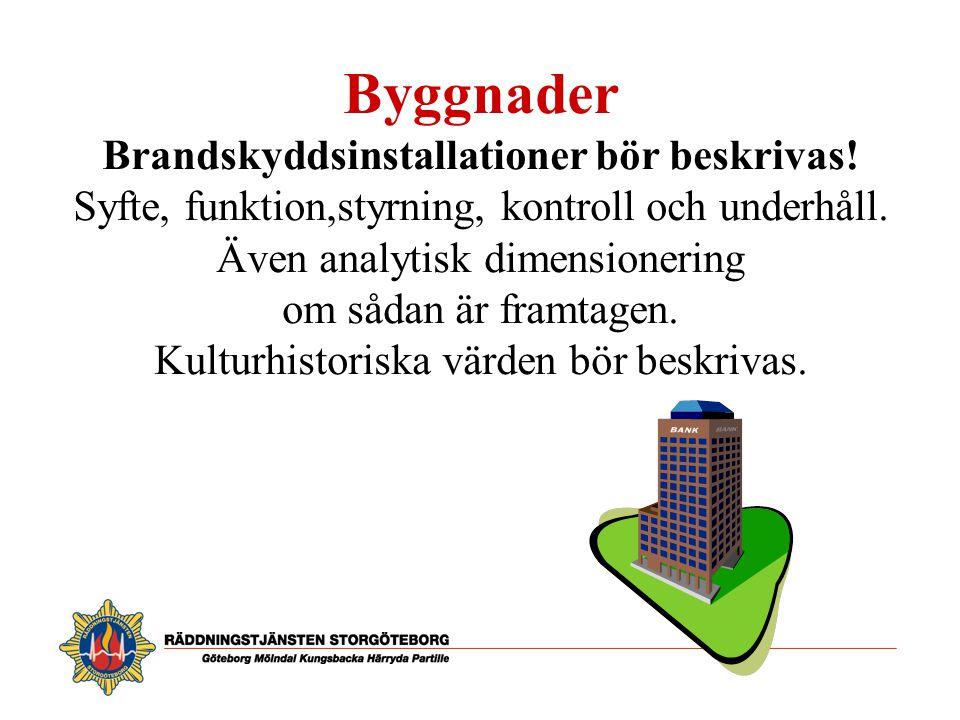 Byggnader Brandskyddsinstallationer bör beskrivas!