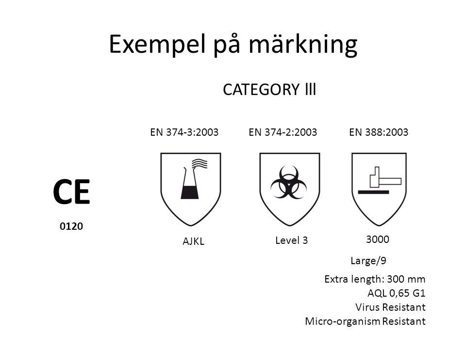 CE Exempel på märkning CATEGORY lll EN 374-3:2003 EN 374-2:2003