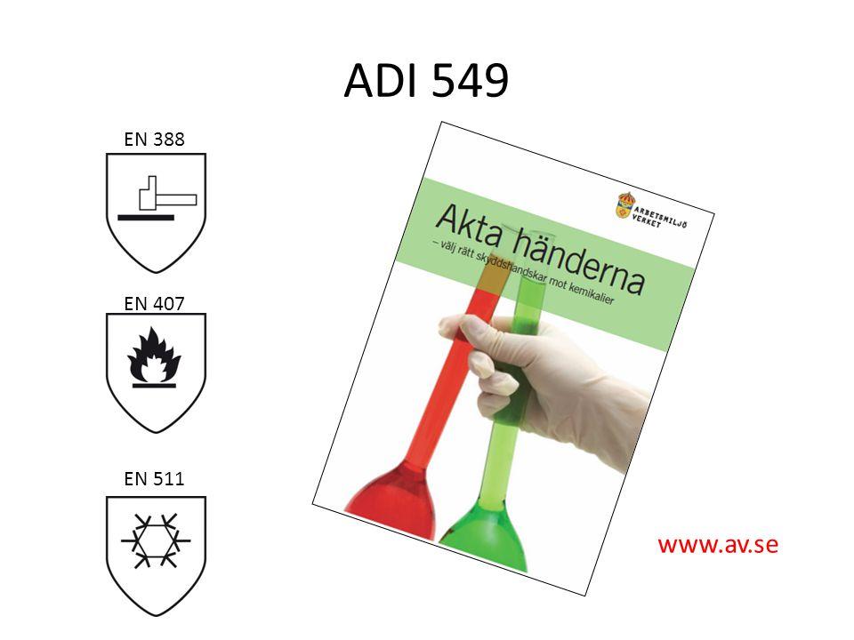 ADI 549 EN 388. EN 407. Broschyren kan laddas ner från www.av.se. Överst: CE-standard för skyddshandskar mot mekaniska risker, EN 388.