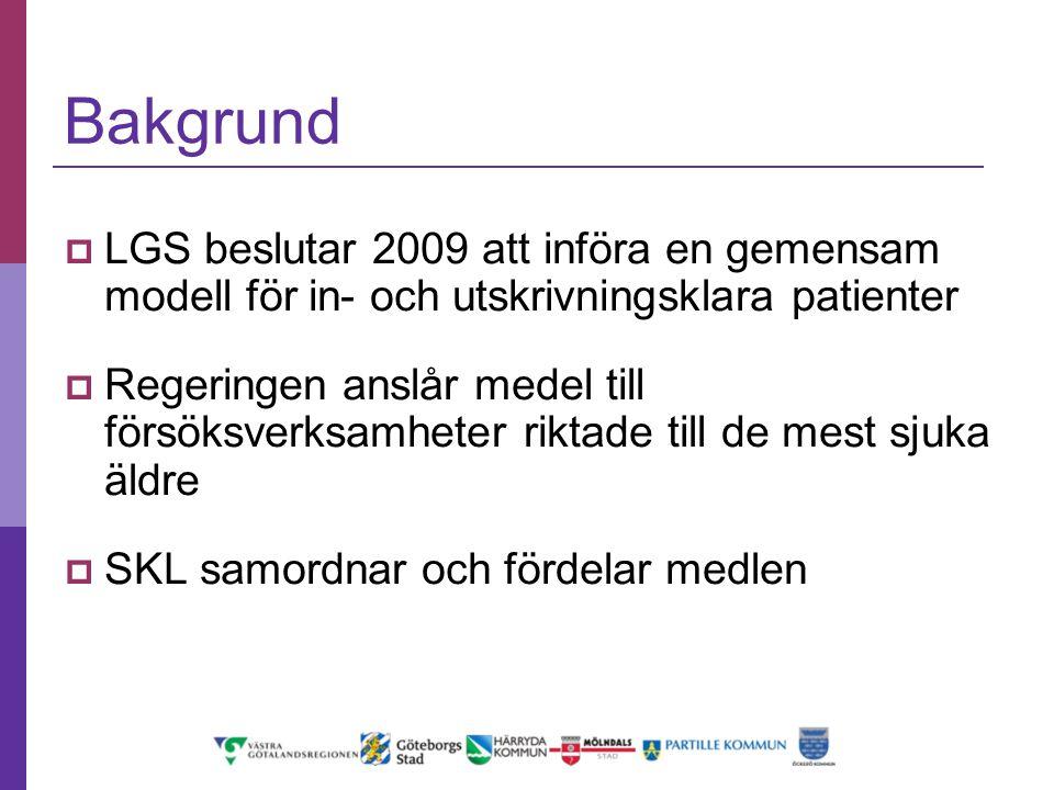 Bakgrund LGS beslutar 2009 att införa en gemensam modell för in- och utskrivningsklara patienter.