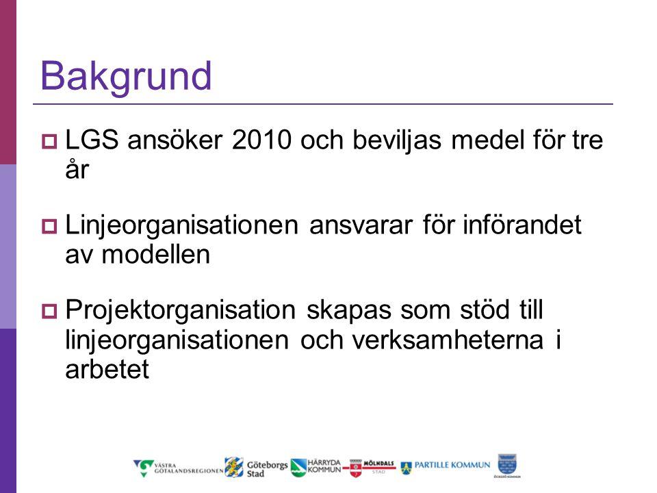 Bakgrund LGS ansöker 2010 och beviljas medel för tre år