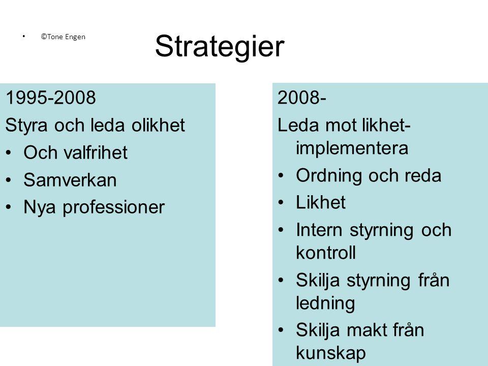 Strategier 1995-2008 Styra och leda olikhet Och valfrihet Samverkan