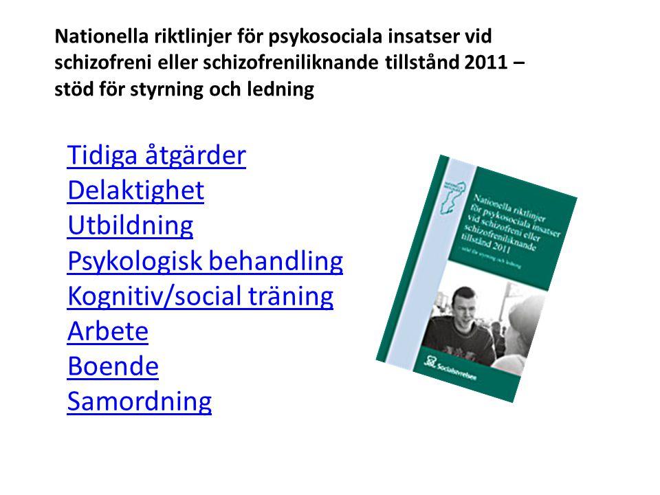 Psykologisk behandling Kognitiv/social träning Arbete Boende
