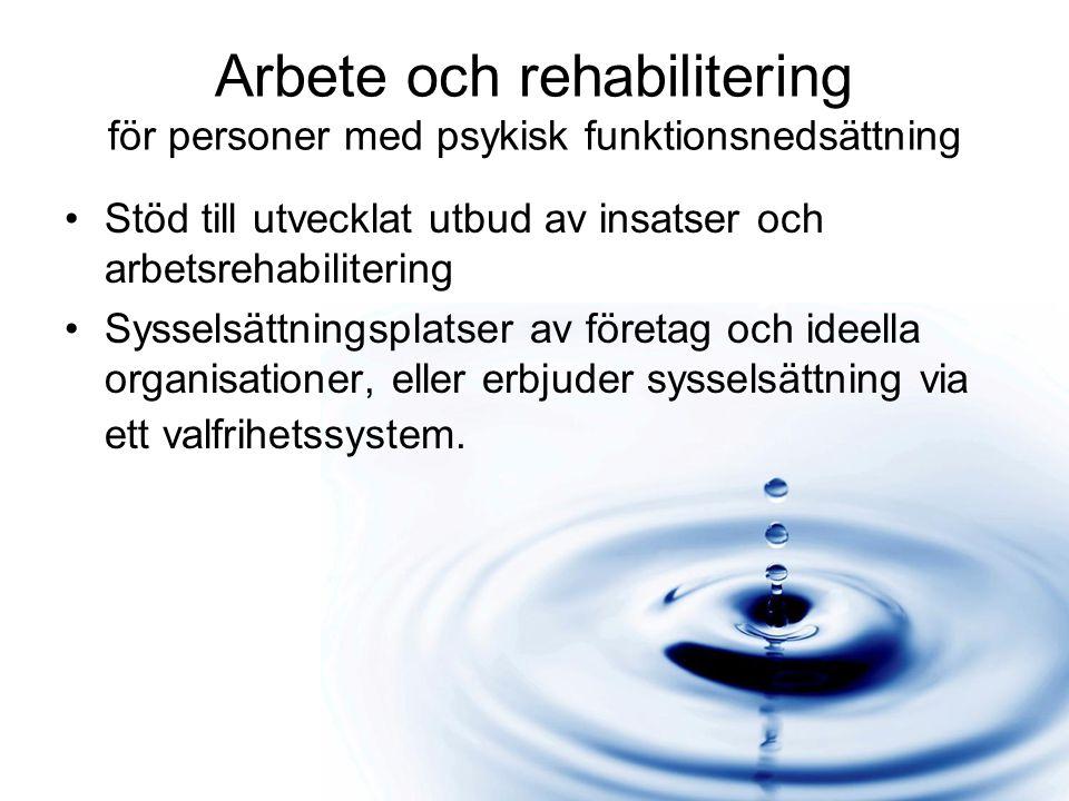 Arbete och rehabilitering för personer med psykisk funktionsnedsättning