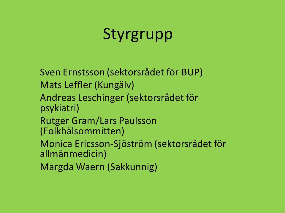Styrgrupp Sven Ernstsson (sektorsrådet för BUP) Mats Leffler (Kungälv)