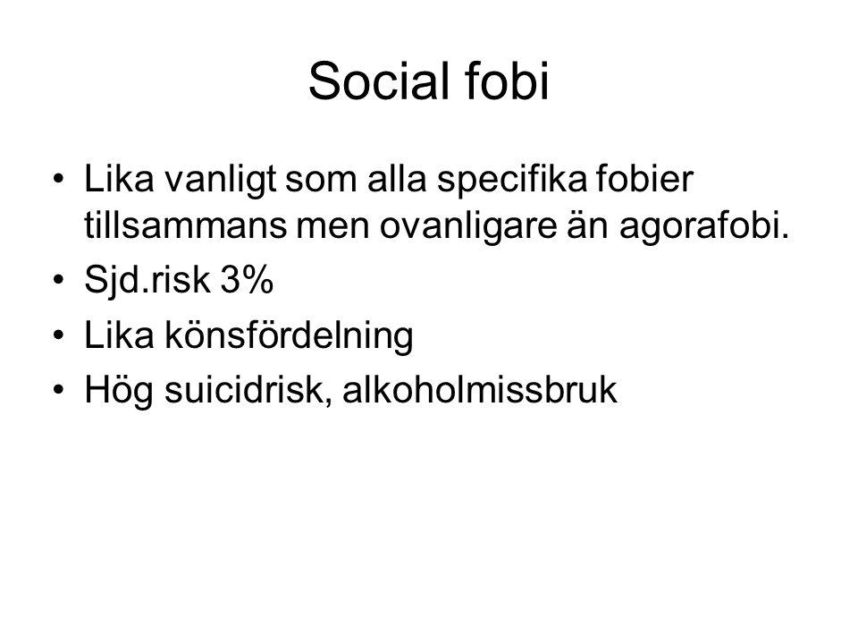 Social fobi Lika vanligt som alla specifika fobier tillsammans men ovanligare än agorafobi. Sjd.risk 3%