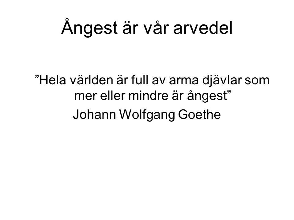Ångest är vår arvedel Hela världen är full av arma djävlar som mer eller mindre är ångest Johann Wolfgang Goethe.