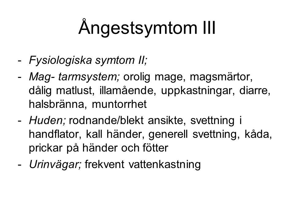 Ångestsymtom III Fysiologiska symtom II;