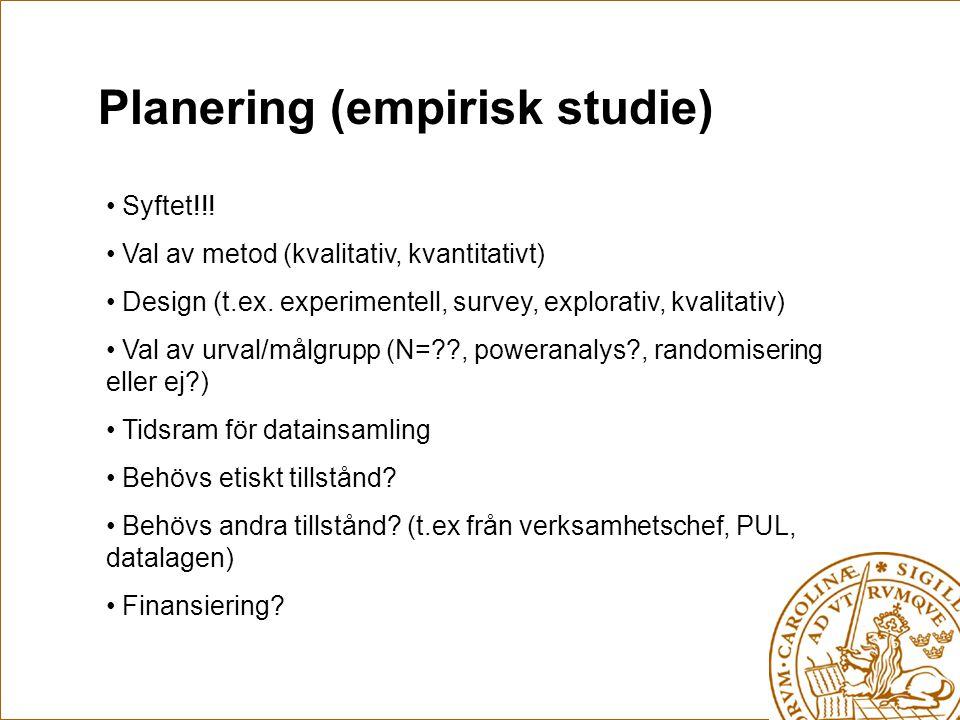 Planering (empirisk studie)