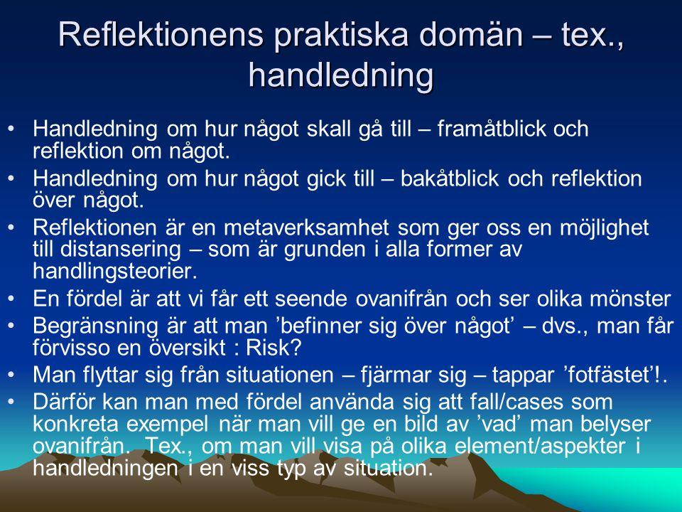 Reflektionens praktiska domän – tex., handledning