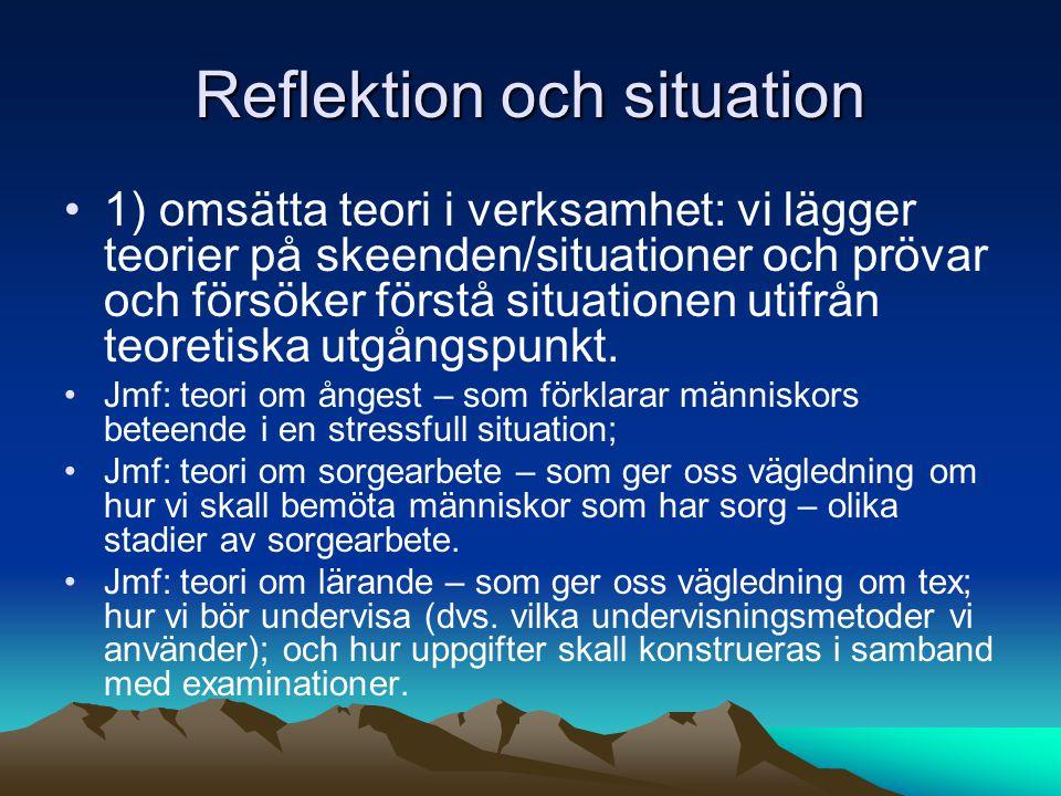 Reflektion och situation