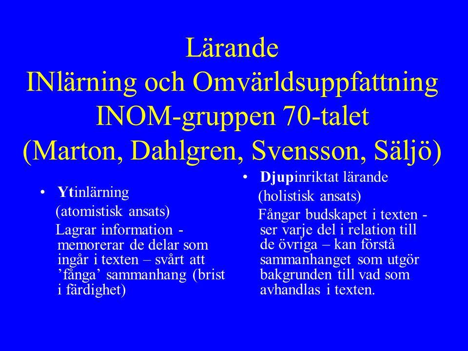 Lärande INlärning och Omvärldsuppfattning INOM-gruppen 70-talet (Marton, Dahlgren, Svensson, Säljö)