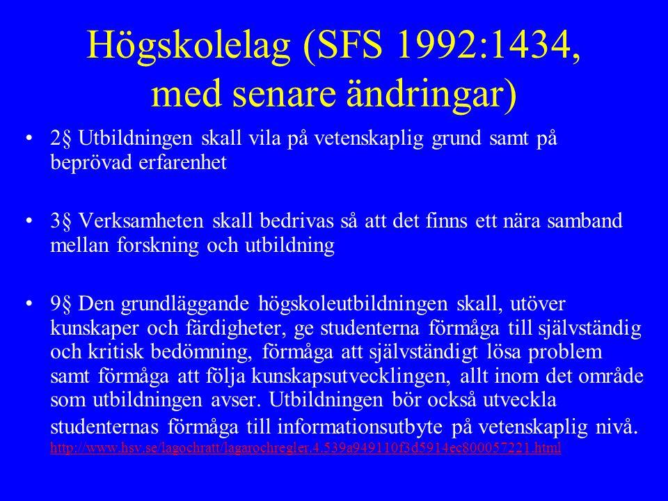 Högskolelag (SFS 1992:1434, med senare ändringar)