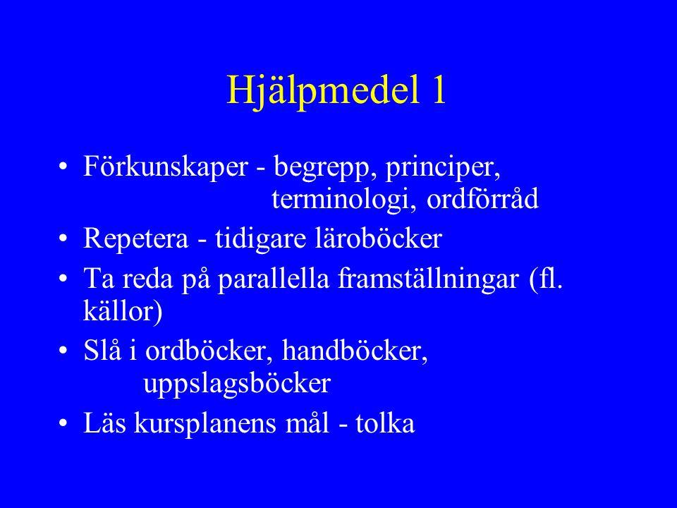 Hjälpmedel 1 Förkunskaper - begrepp, principer, terminologi, ordförråd
