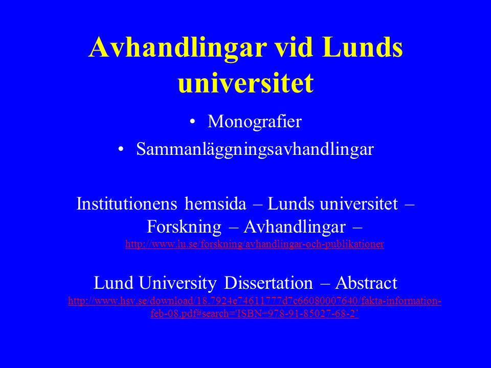Avhandlingar vid Lunds universitet