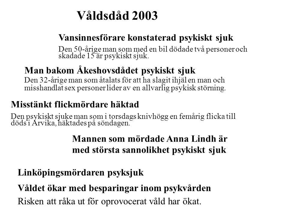 Våldsdåd 2003 Vansinnesförare konstaterad psykiskt sjuk