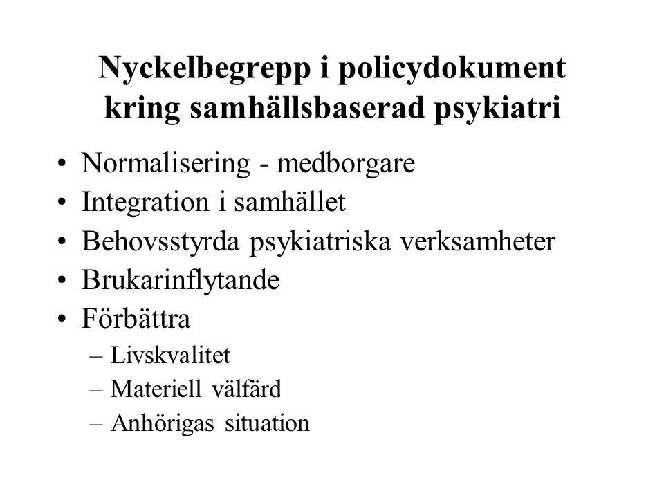 Nyckelbegrepp i policydokument kring samhällsbaserad psykiatri