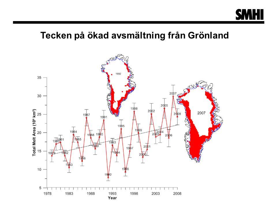 Tecken på ökad avsmältning från Grönland