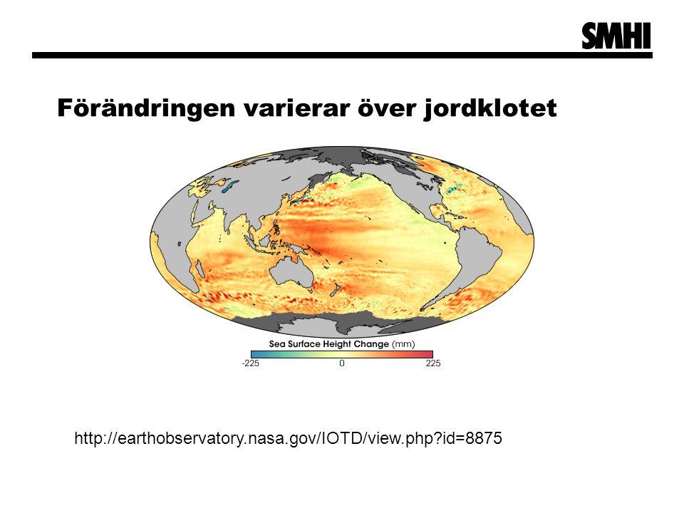 Förändringen varierar över jordklotet