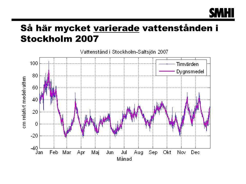 Så här mycket varierade vattenstånden i Stockholm 2007