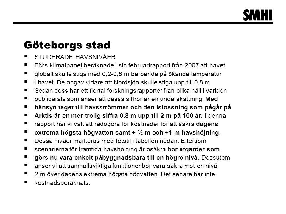 Göteborgs stad STUDERADE HAVSNIVÅER