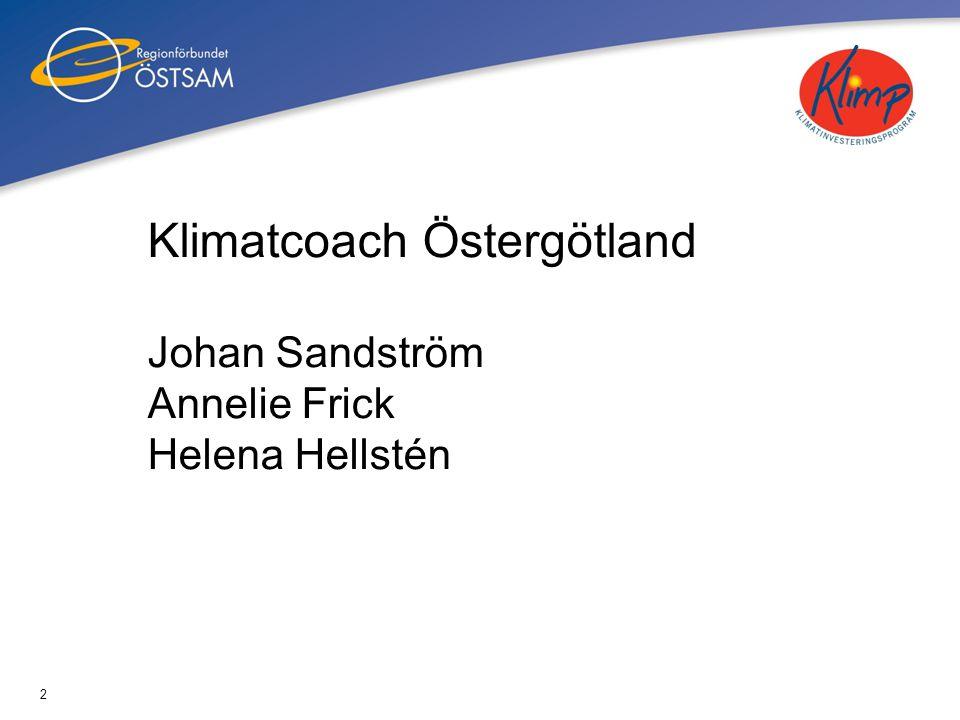 Klimatcoach Östergötland Johan Sandström Annelie Frick Helena Hellstén