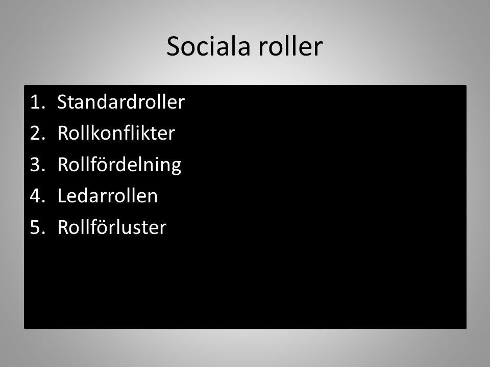 Sociala roller Standardroller Rollkonflikter Rollfördelning