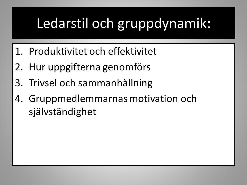 Ledarstil och gruppdynamik: