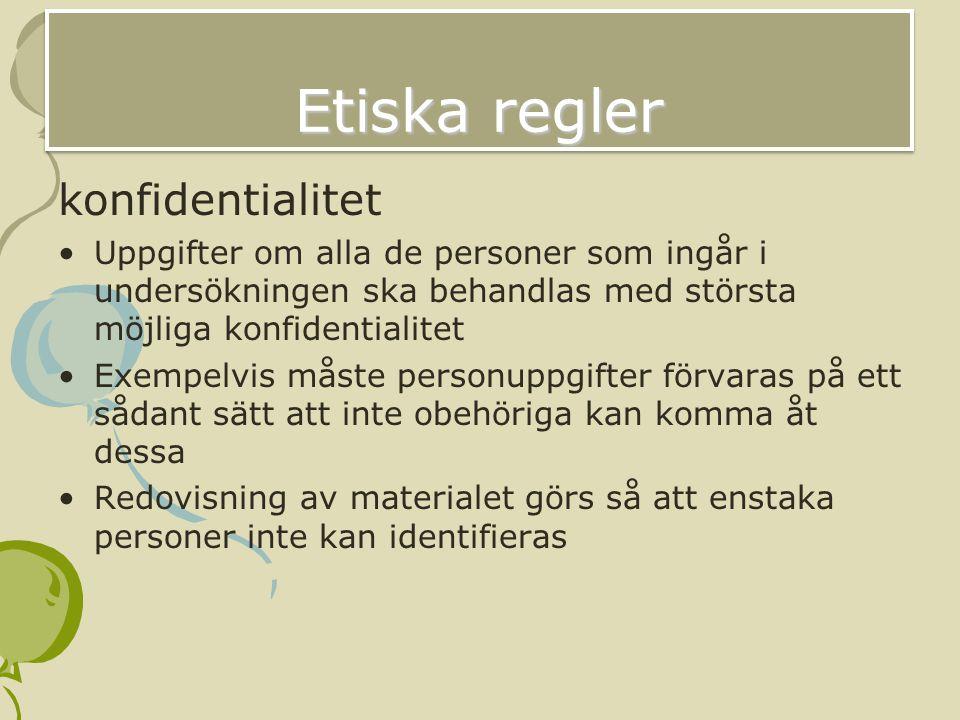 Etiska regler konfidentialitet
