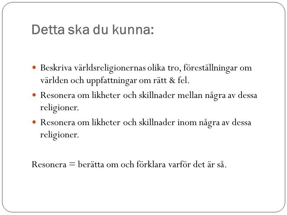 Detta ska du kunna: Beskriva världsreligionernas olika tro, föreställningar om världen och uppfattningar om rätt & fel.