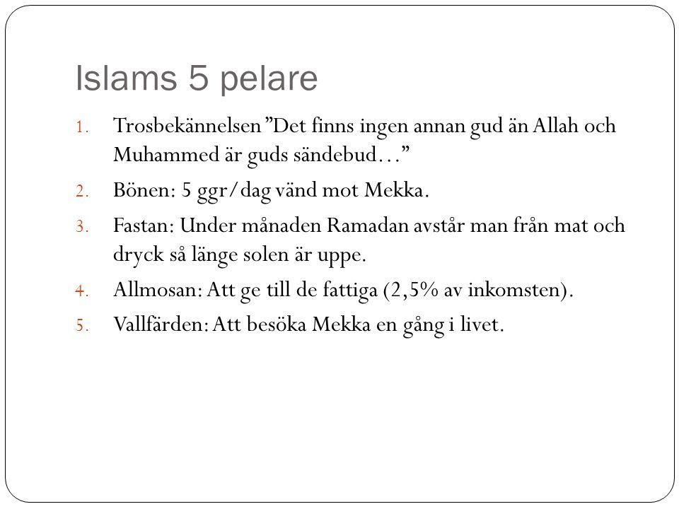 Islams 5 pelare Trosbekännelsen Det finns ingen annan gud än Allah och Muhammed är guds sändebud…