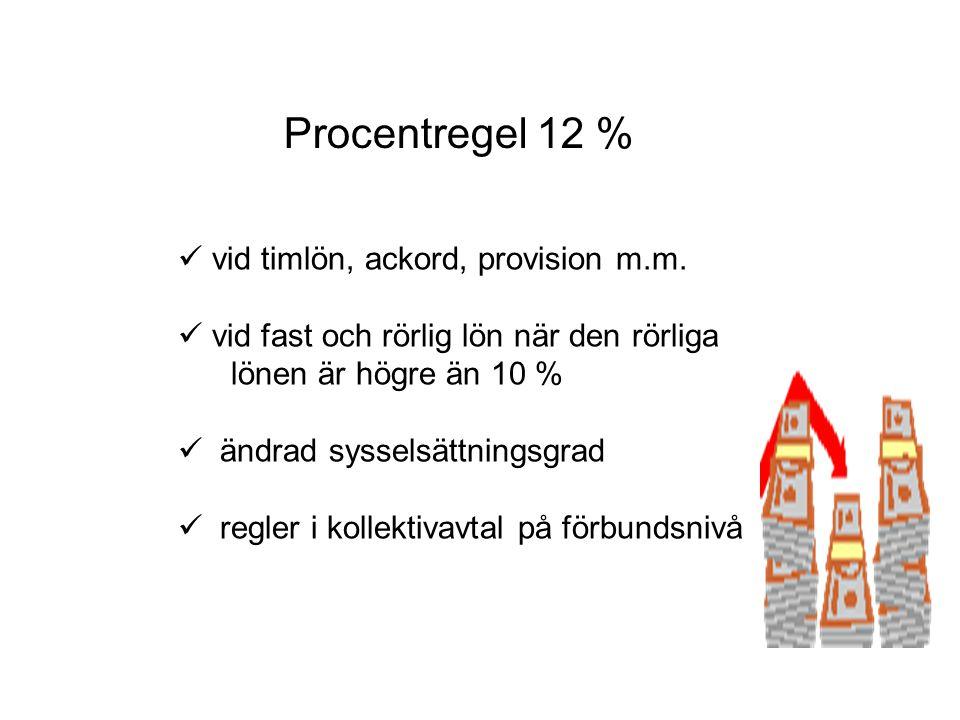 Procentregel 12 % vid timlön, ackord, provision m.m.