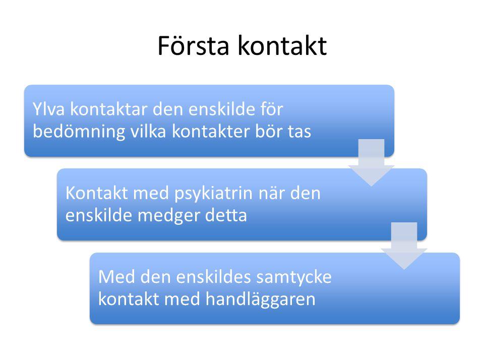 Första kontakt Ylva kontaktar den enskilde för bedömning vilka kontakter bör tas. Kontakt med psykiatrin när den enskilde medger detta.