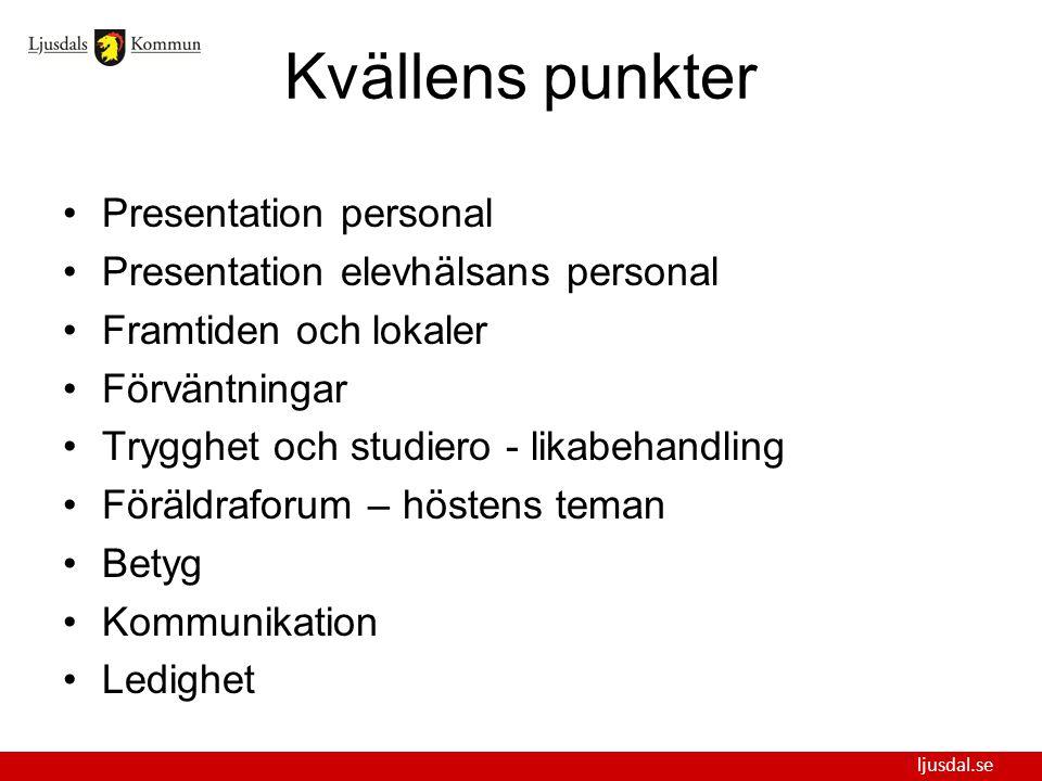 Kvällens punkter Presentation personal