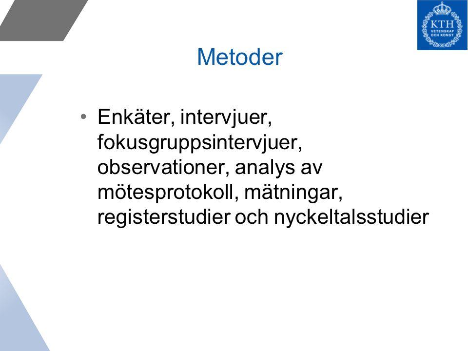Metoder Enkäter, intervjuer, fokusgruppsintervjuer, observationer, analys av mötesprotokoll, mätningar, registerstudier och nyckeltalsstudier.