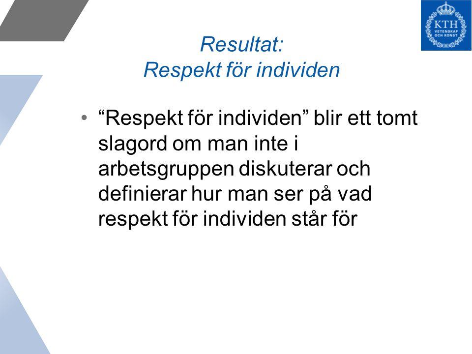 Resultat: Respekt för individen