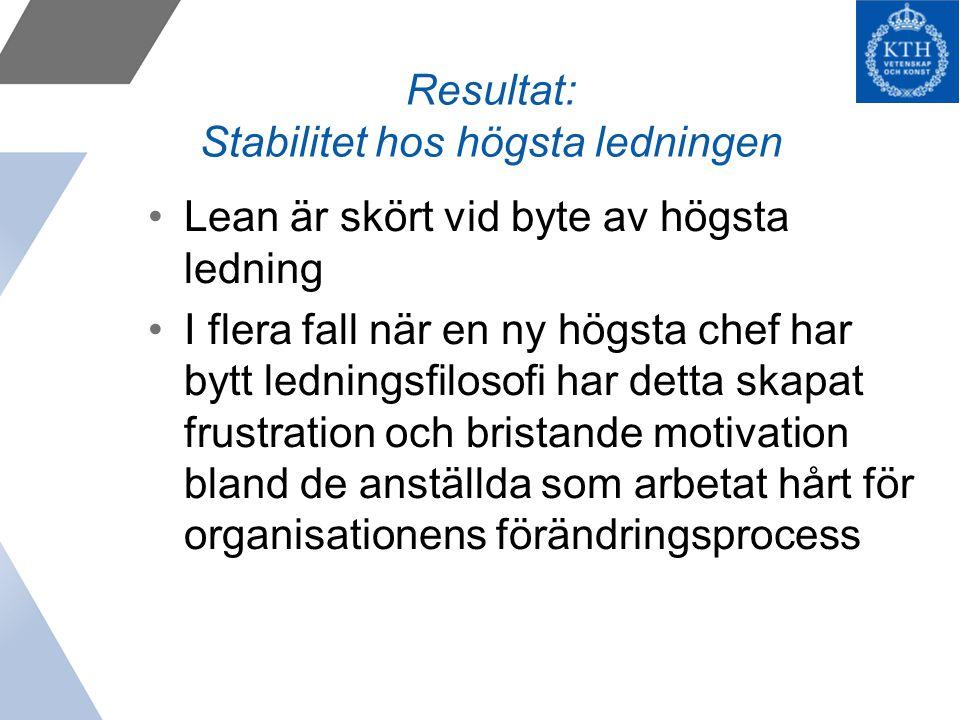 Resultat: Stabilitet hos högsta ledningen
