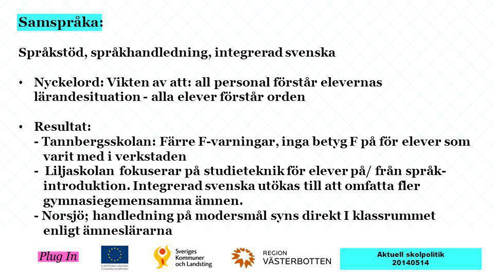 Samspråka: Språkstöd, språkhandledning, integrerad svenska