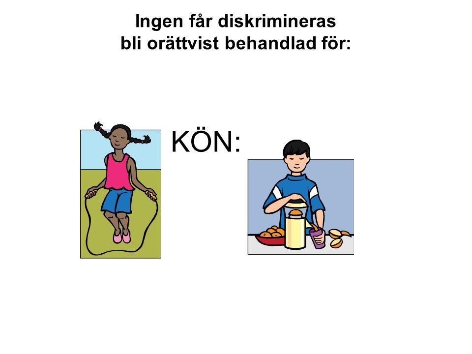 Ingen får diskrimineras bli orättvist behandlad för: