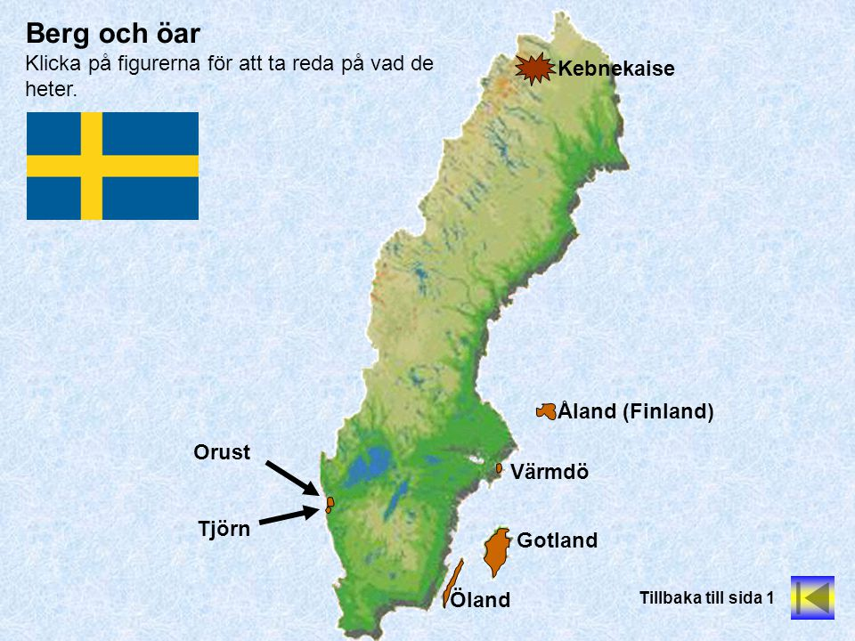 Berg och öar Klicka på figurerna för att ta reda på vad de heter.