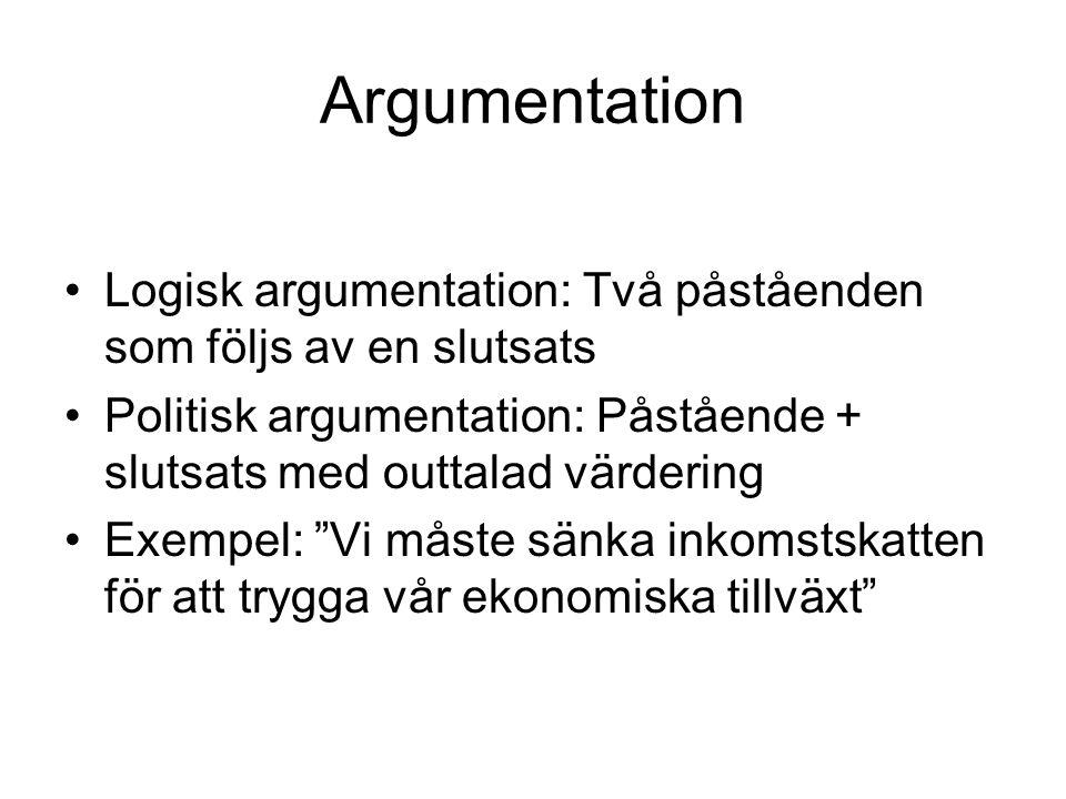 Argumentation Logisk argumentation: Två påståenden som följs av en slutsats. Politisk argumentation: Påstående + slutsats med outtalad värdering.