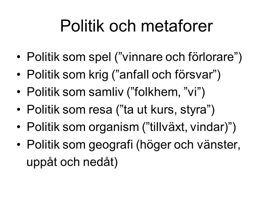Politik och metaforer Politik som spel ( vinnare och förlorare )