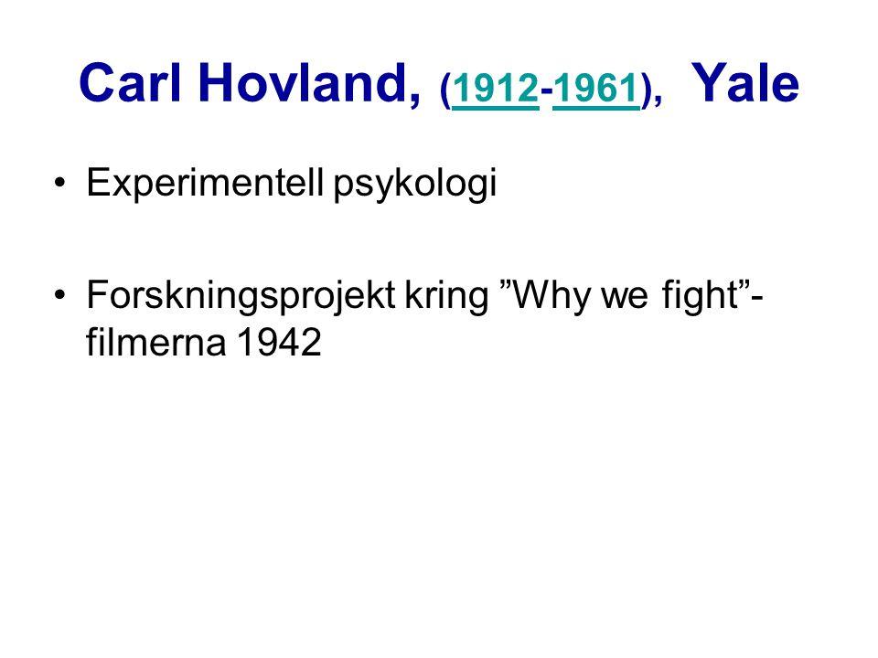 Carl Hovland, (1912-1961), Yale Experimentell psykologi