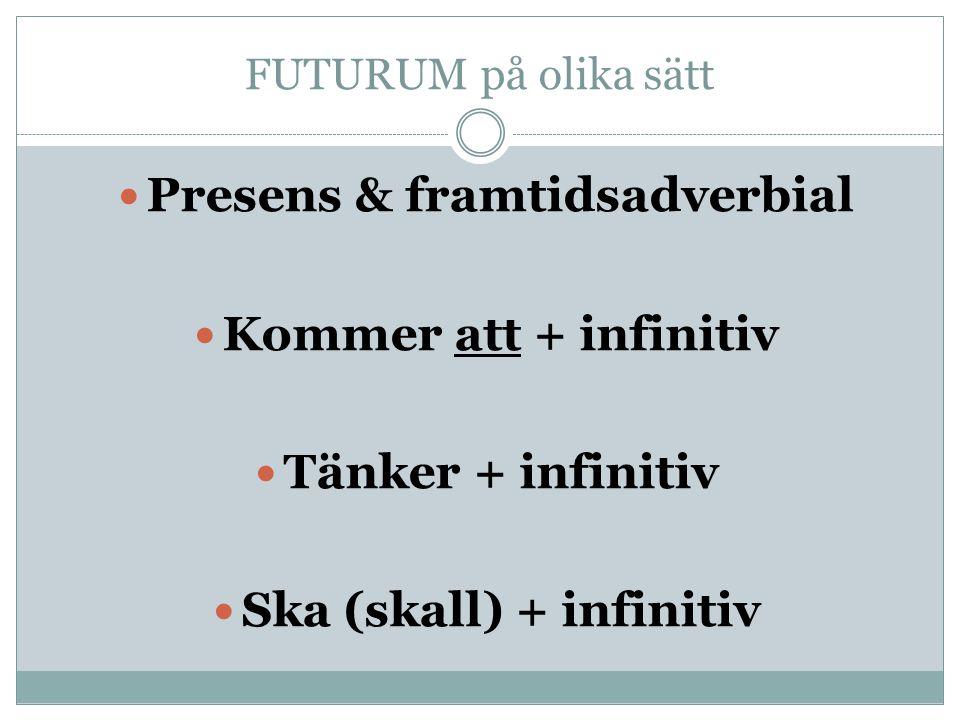 Presens & framtidsadverbial Ska (skall) + infinitiv