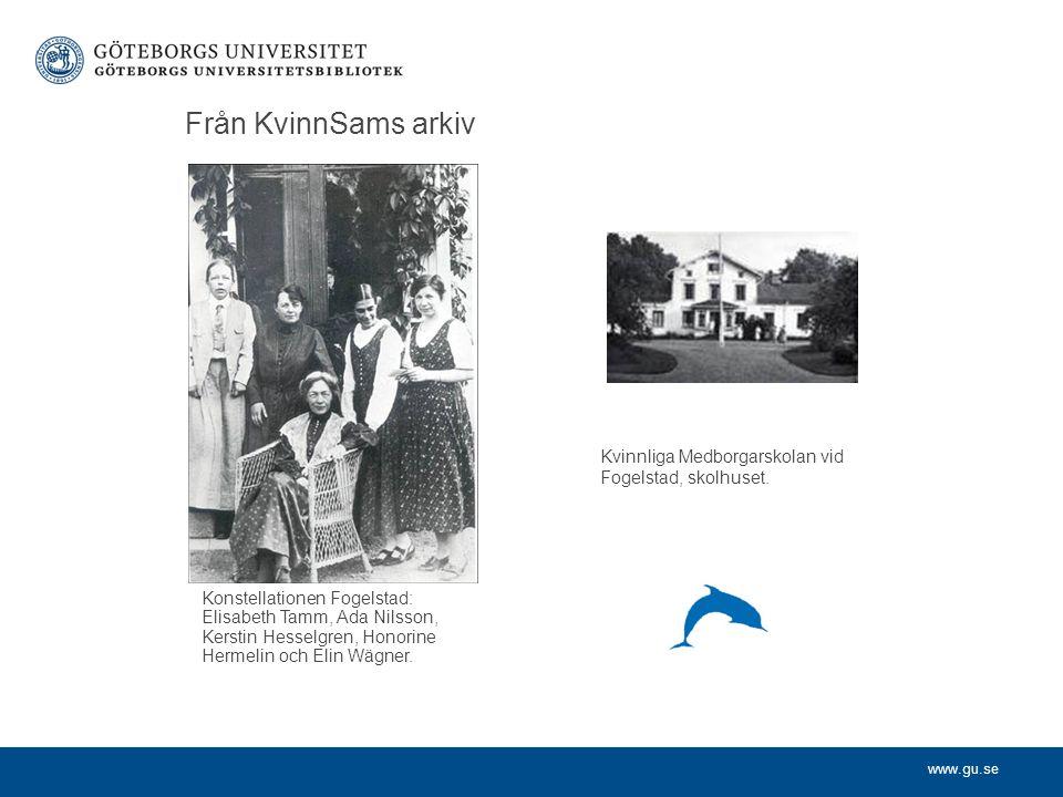 Från KvinnSams arkiv Konstellationen Fogelstad: Elisabeth Tamm, Ada Nilsson, Kerstin Hesselgren, Honorine Hermelin och Elin Wägner.